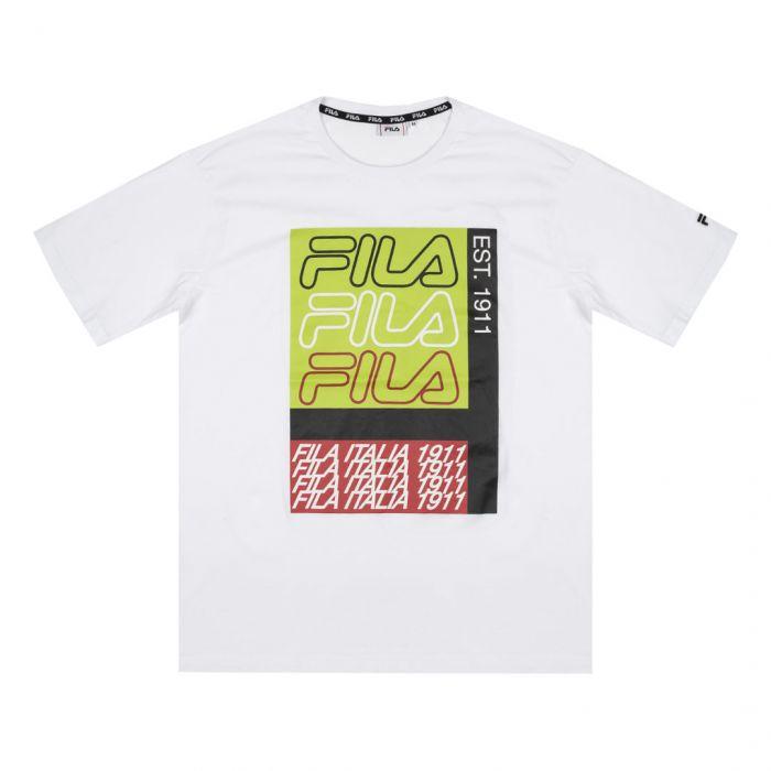FILA - CARADOC Club Chaos Dropped Shoulder T-shirt - Vit