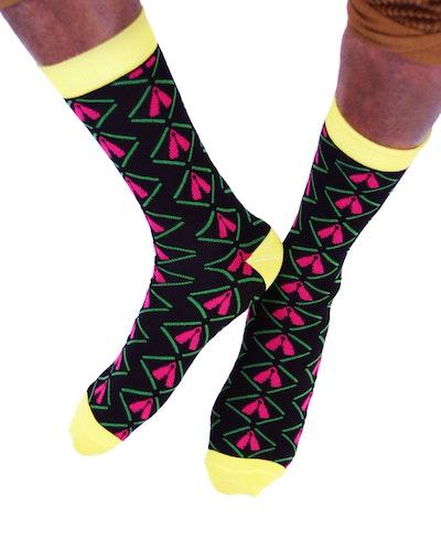 AKUKO - Black & Yellow Ogene Classic Bamboo Socks