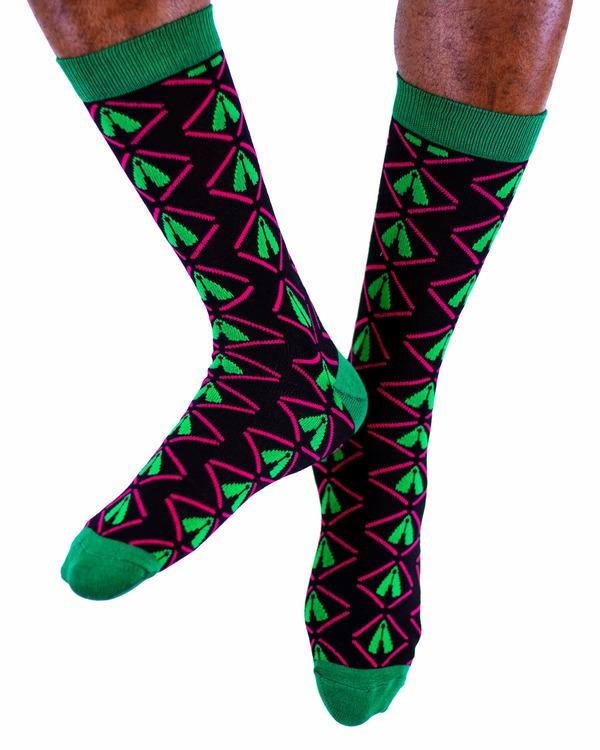 AKUKO - Black & Green Ogene Classic Bamboo Socks