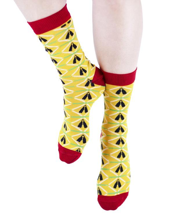 AKUKO - Yellow & Red Ogene Diamond Bamboo Socks