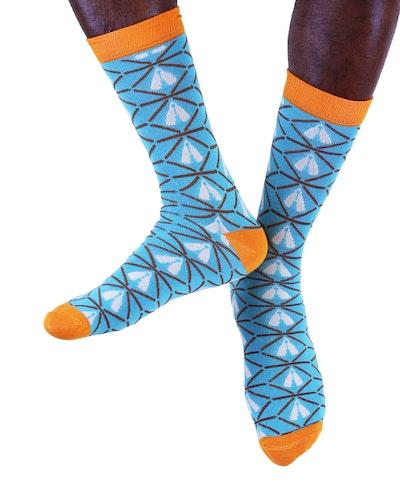AKUKO - Turquoise & Orange Ogene Diamond Bamboo Socks