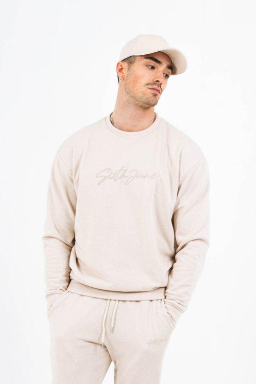 SIXTH JUNE - Embossed logo signature sweatshirt - Beige