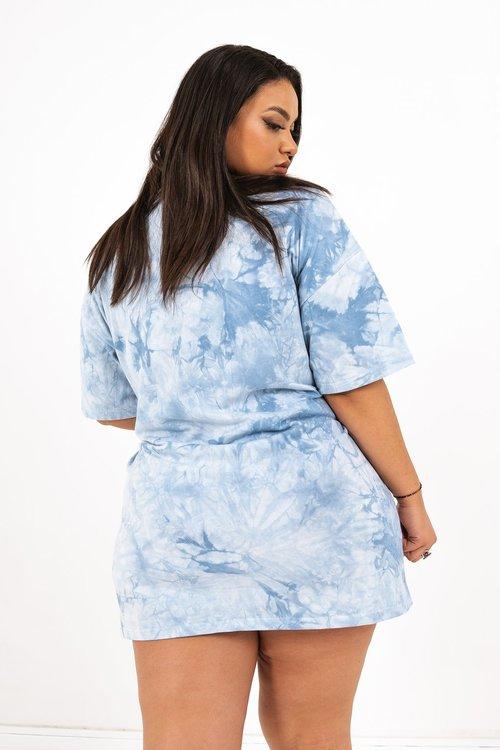 SIXTH JUNE - Tie dye drawstrings t-shirt dress - Blue