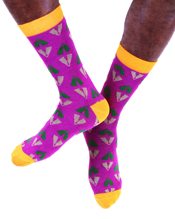 AKUKO - Purple & Orange Ogene Vibes Bamboo Socks