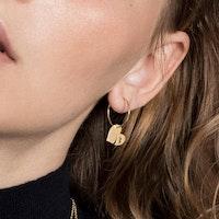 ANITA JUNE | Örhängen | Leaf Love Hoop - 18K Guld