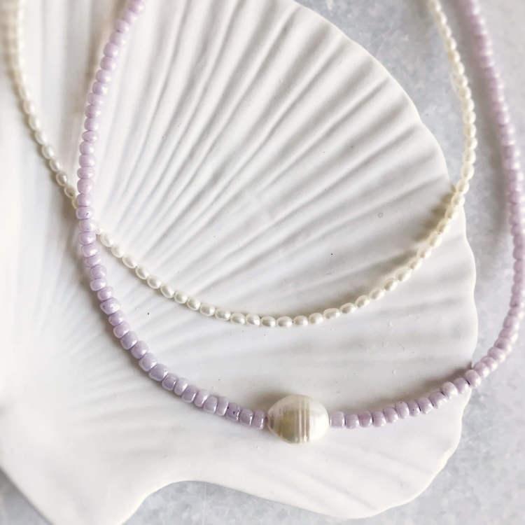 ANITA JUNE | Halsband | Purple Pearl - Silver
