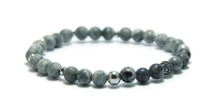 armband grått silver stenar unti jewelry