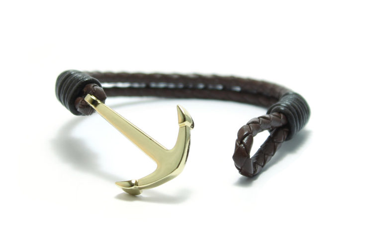 armband läder med guld ankare braided set sail unit jewelry