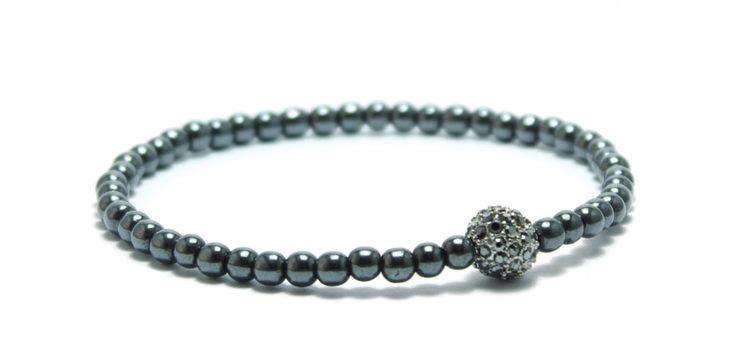 armband grått med pärla hematite pave unit jewelry