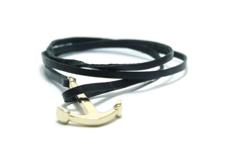 armband långt läderarmband med ankare keep me grounded