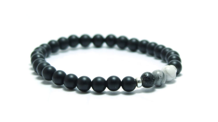 armband svart grått stenar grey ombre silver unit jewelry
