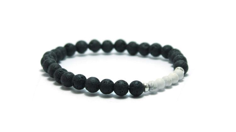 armband svarta lavastenar black lava