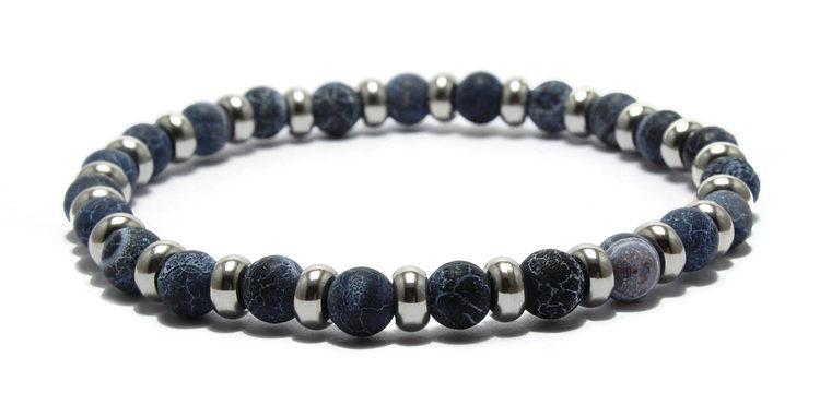 armband stenar silver shifting blues