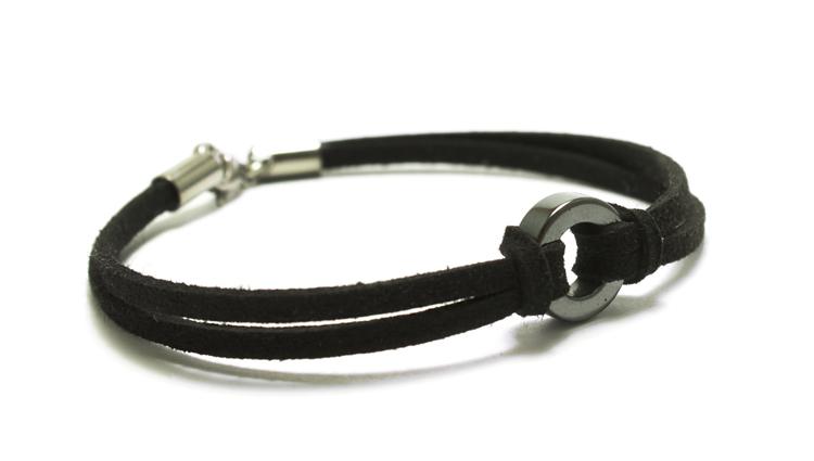 armband brunt läder och silver united front