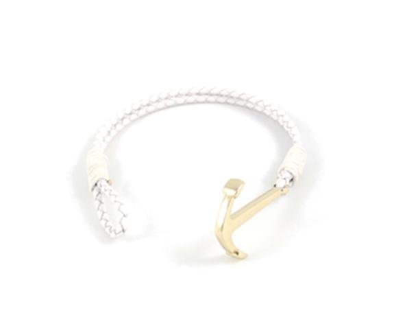 smycken vitt armband med ankare i guld