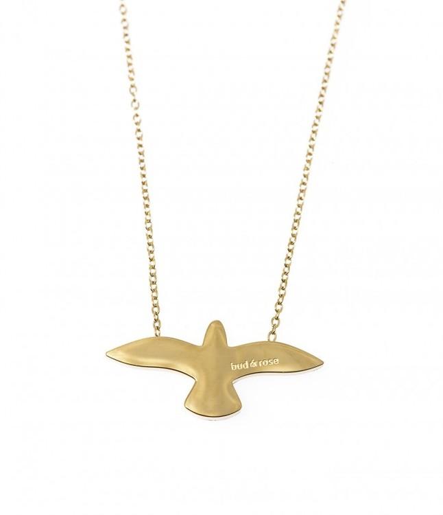 smycken halsband i guld med duva