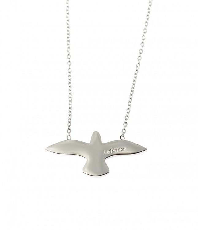 smycken halsband i silver med duva