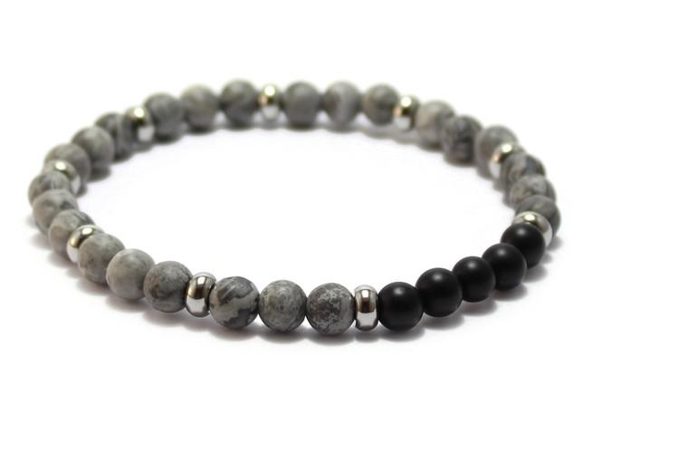 smycken armband grå och svarta stenar
