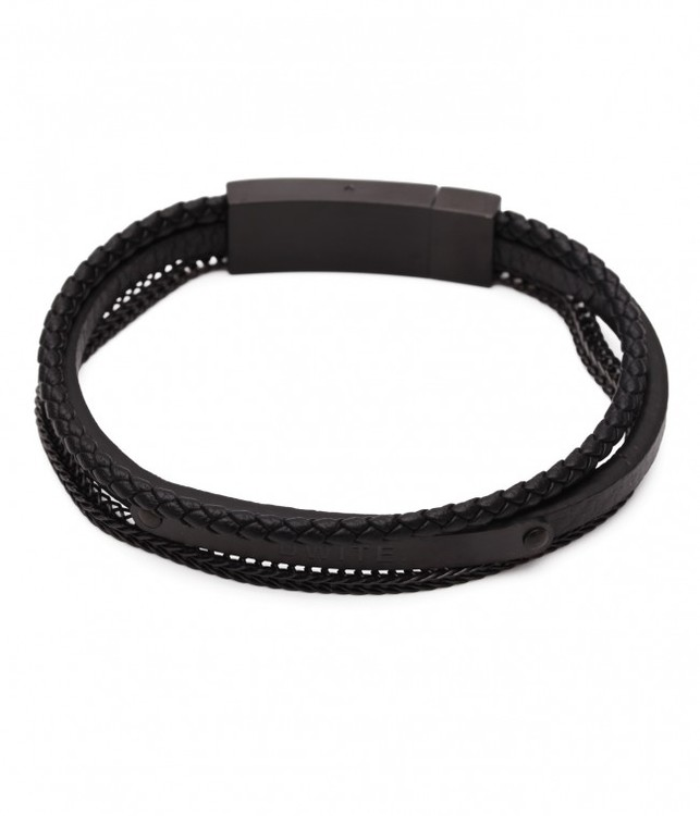 DWITE MAN  | Armband | Axel black Three Row Leather Chain