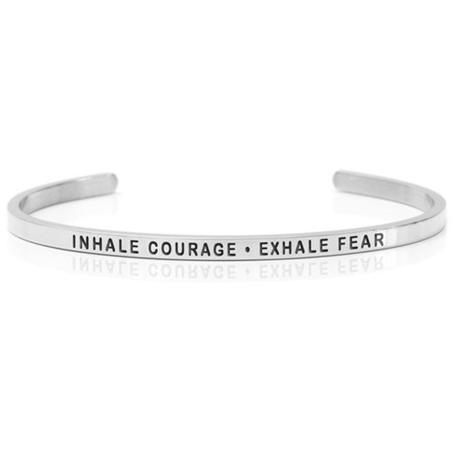 stelt silverarmband med budskap Inhale courage