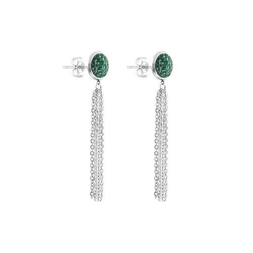 Hängande örhängen i silver med grön glassten binx 1 saint avenue