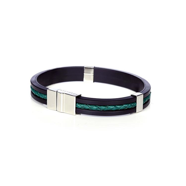 herr armband i svart gummi, grönt läder och stål so sweden