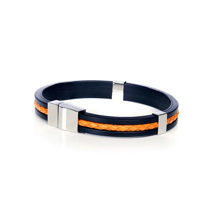 armband i svart gummi, läder och rostfritt stål so sweden