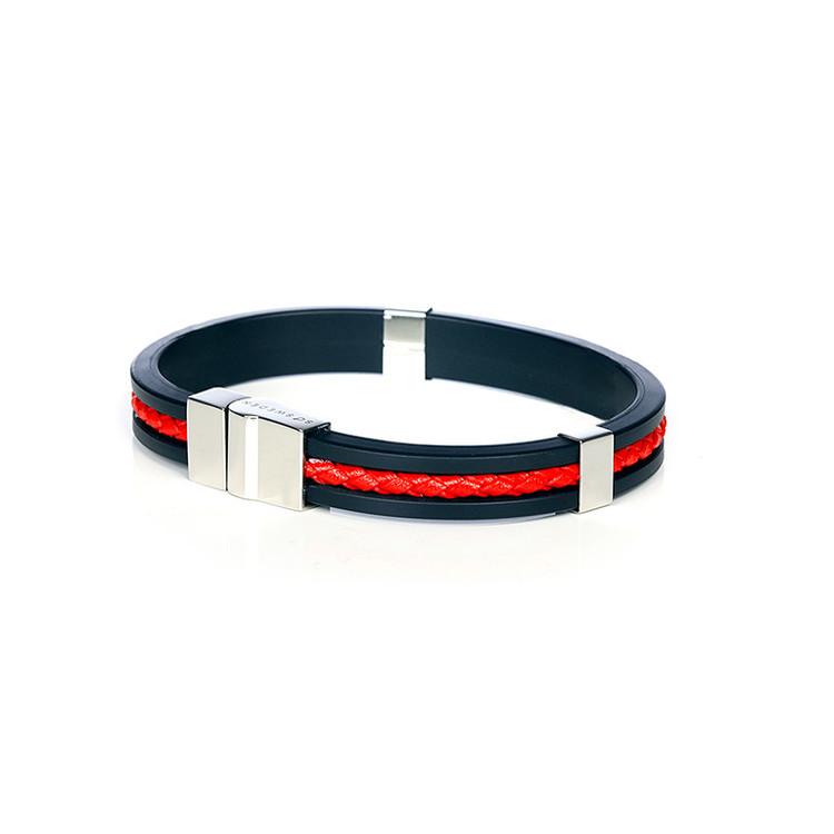 armband accessoar herr röd läder, svart gummi och rostfritt stål so sweden