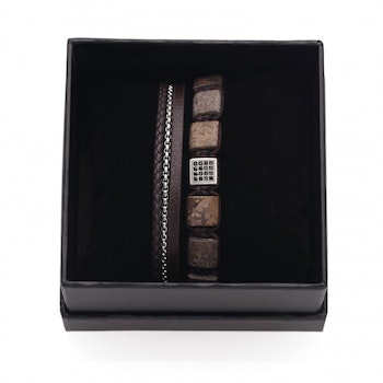 DWITE MAN  | Armband | Duo Brown Set 4