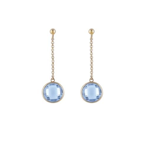 STAR OF SWEDEN | Långa örhängen | 18K Guld | Blå sten
