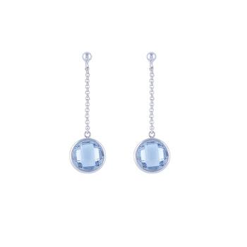 STAR OF SWEDEN | Långa örhängen | Silver | Blå sten
