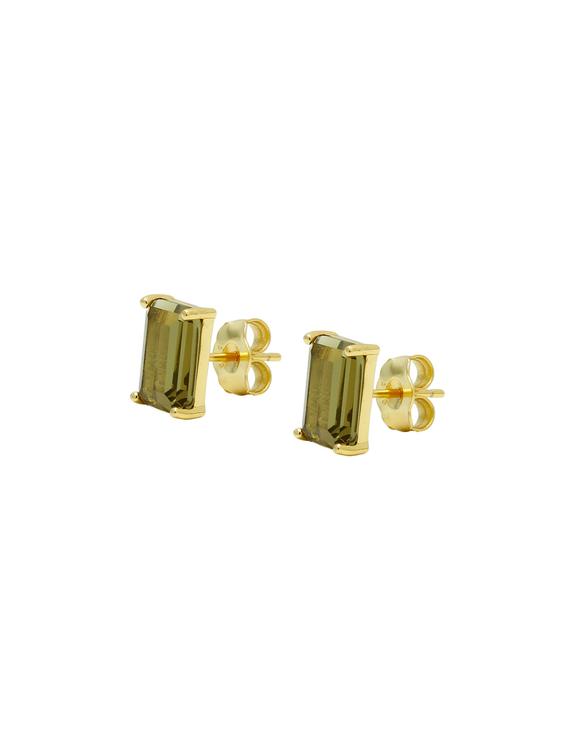 örhängen stud i guld med brun sten