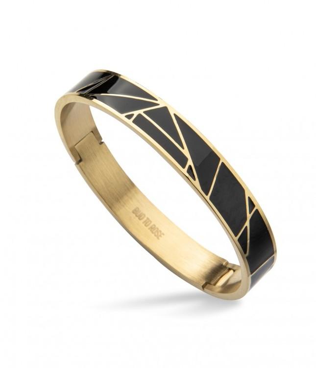 enamel armband guld och svart bud to rose