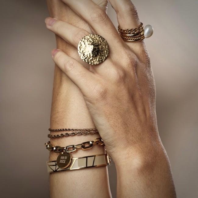 BUD TO ROSE   Armband   Rose Enamel Sand/Gold