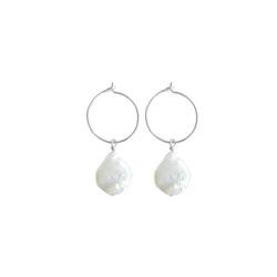 ANITA JUNE | Örhängen | Coin Hoop Pearl - Silver