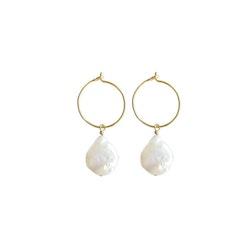 ANITA JUNE | Örhängen | Coin Hoop Pearl - Guld
