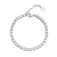 BUD TO ROSE   Armband   Pearl Tennis Silver