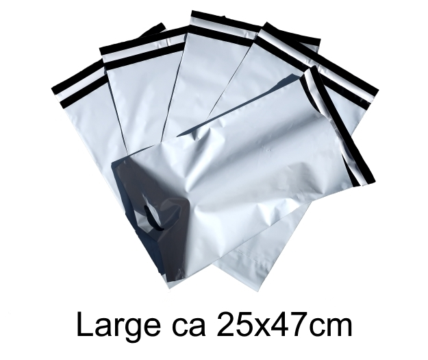 Med handtag! Vita Postorderpåsar mailingbags med handtag i 7 storlekar!