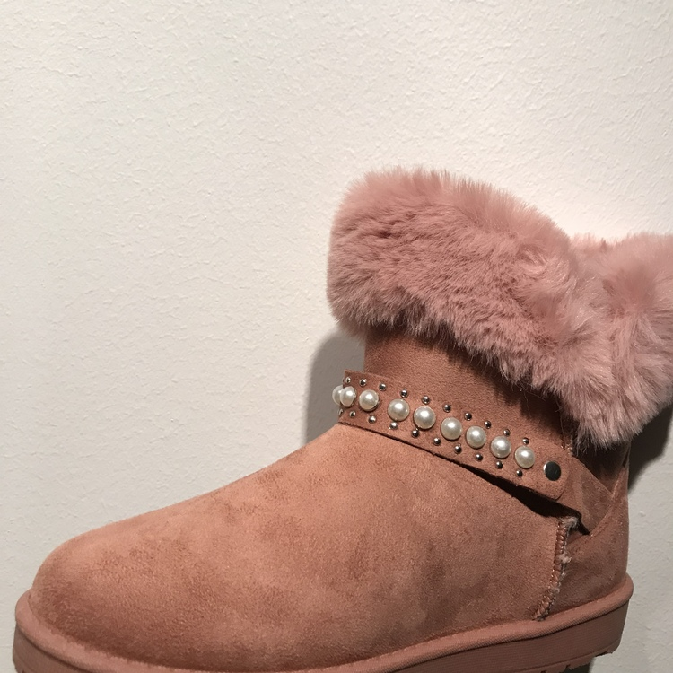 Faux fur boot, pink with pearls.