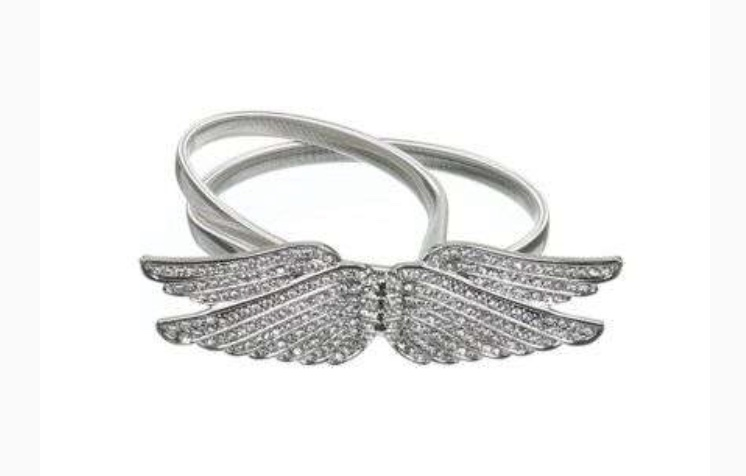 Wings full diamond stretch belt-silver