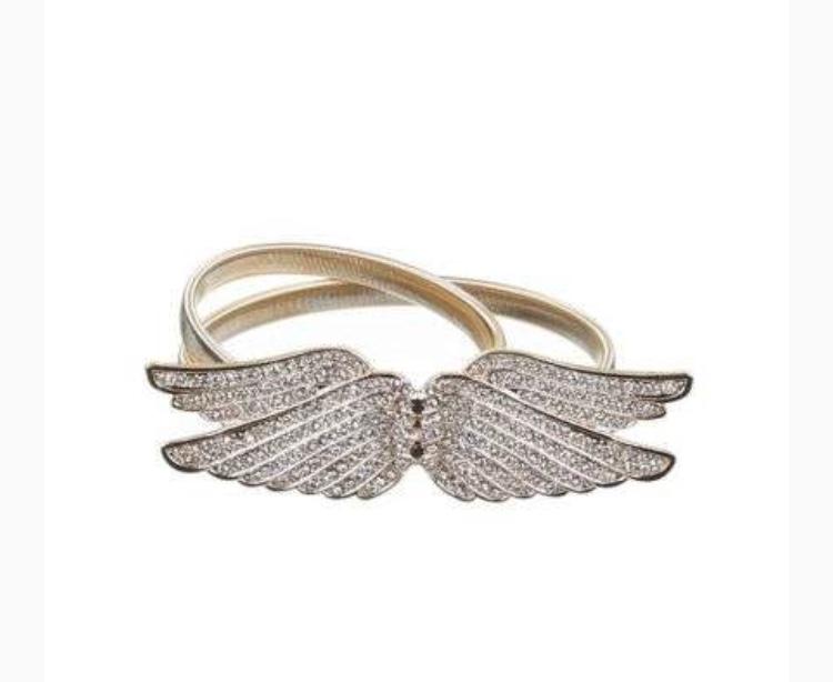 Wings full diamond stretch belt, guld.