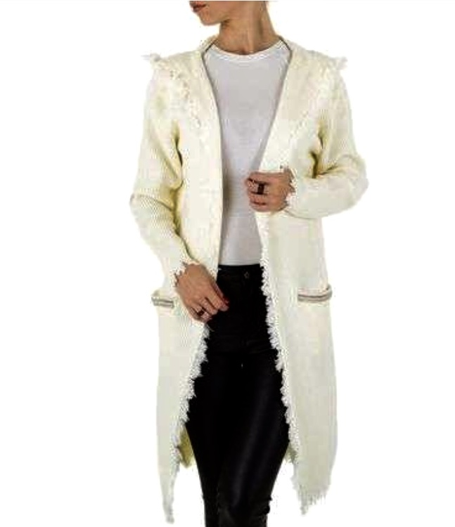 Cream luxury hooded bohemian cardigan