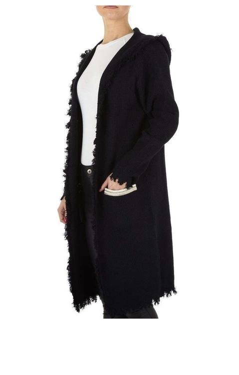 Black luxury hooded bohemian cardigan