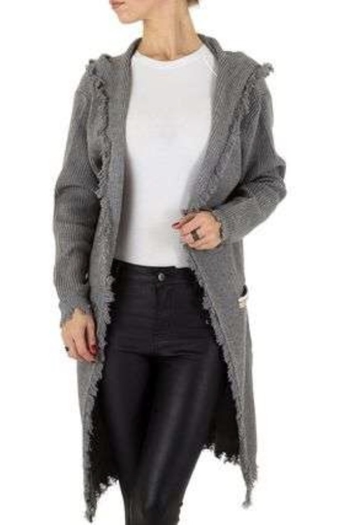 Grey luxury hooded bohemian cardigan