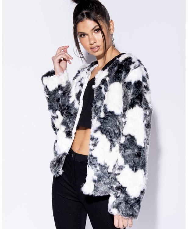 Faux fur supercow short coat