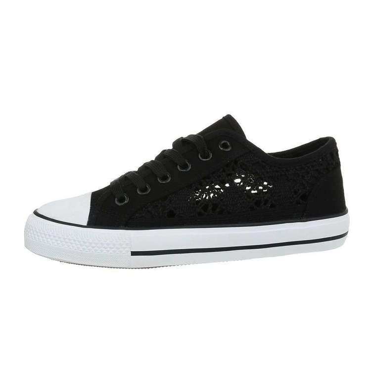 Summer laced sneakers, black