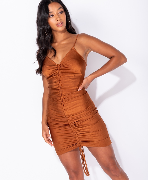 Tanned  silky dress