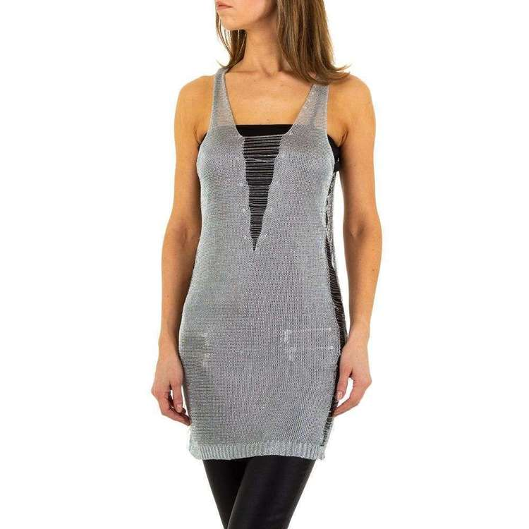Glam collection, long silver delux ripped tank top