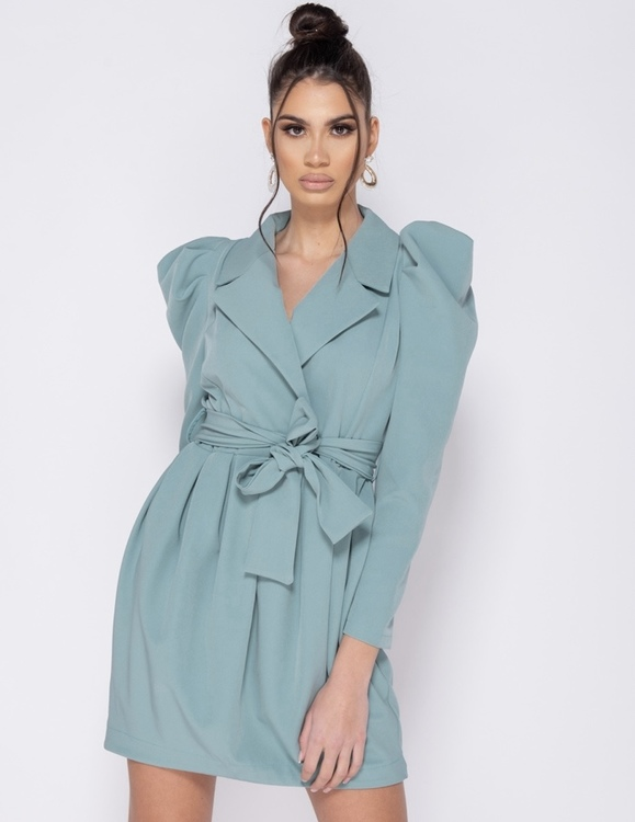 Chic mint wrap over dress