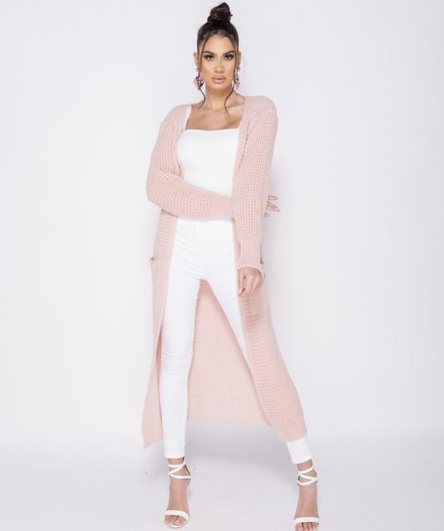 Bella long pink cardigan